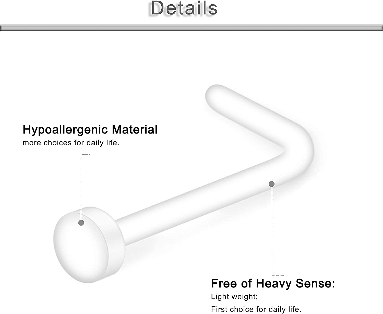 Yaalozei 18G Clear Bioflex L Shaped Nose Ring Stud Retainer Body Jewelry Piercing Top Flat 2mm 2.5 3mm 40PCS