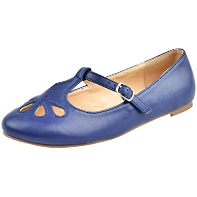 Cambridge Select Women's T-Strap Closed Round Toe Teardrop Cut Out Flat | Shoes
