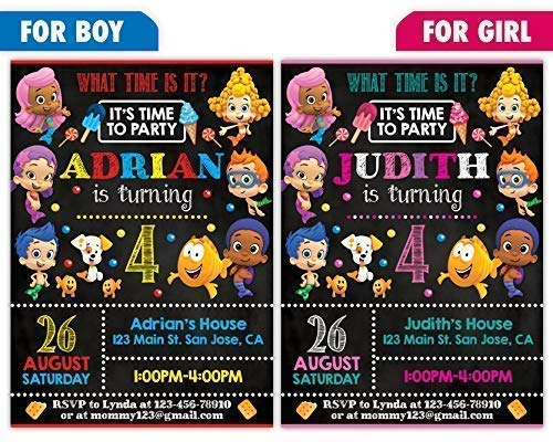 Custom Bubble Guppies Birthday Party Invitations for Boy or Girl, 10pc-100pc 4