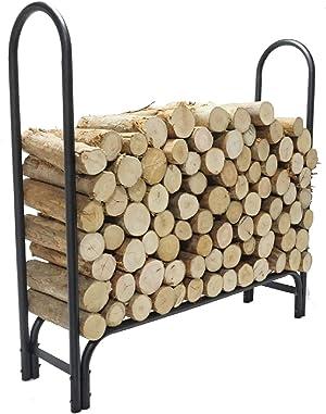 4 FT Firewood Rack Log Holder, Firewood Holding Rack Indoor, Firewood Storage Holder for Fireplace Patio Outdoor Backyard, Wrought Iron Log Holder