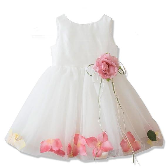 cd7ff57f69c69 Catherine Cottage 結婚式 お宮参り 出産祝い 花びら揺れるロマンティック ベビー ドレス PC734YB 80cm ホワイト
