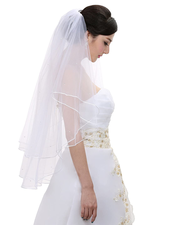 2T 2 Tier Rattail Scattered Rhinestone Bridal Wedding Veil Fingertip Length 36