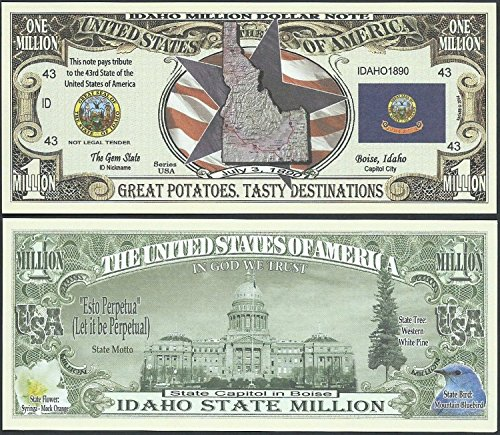 Idaho State Educational Million Dollar Bill W Map, Seal, Flag, Capitol - Lot of 100 Bills ()