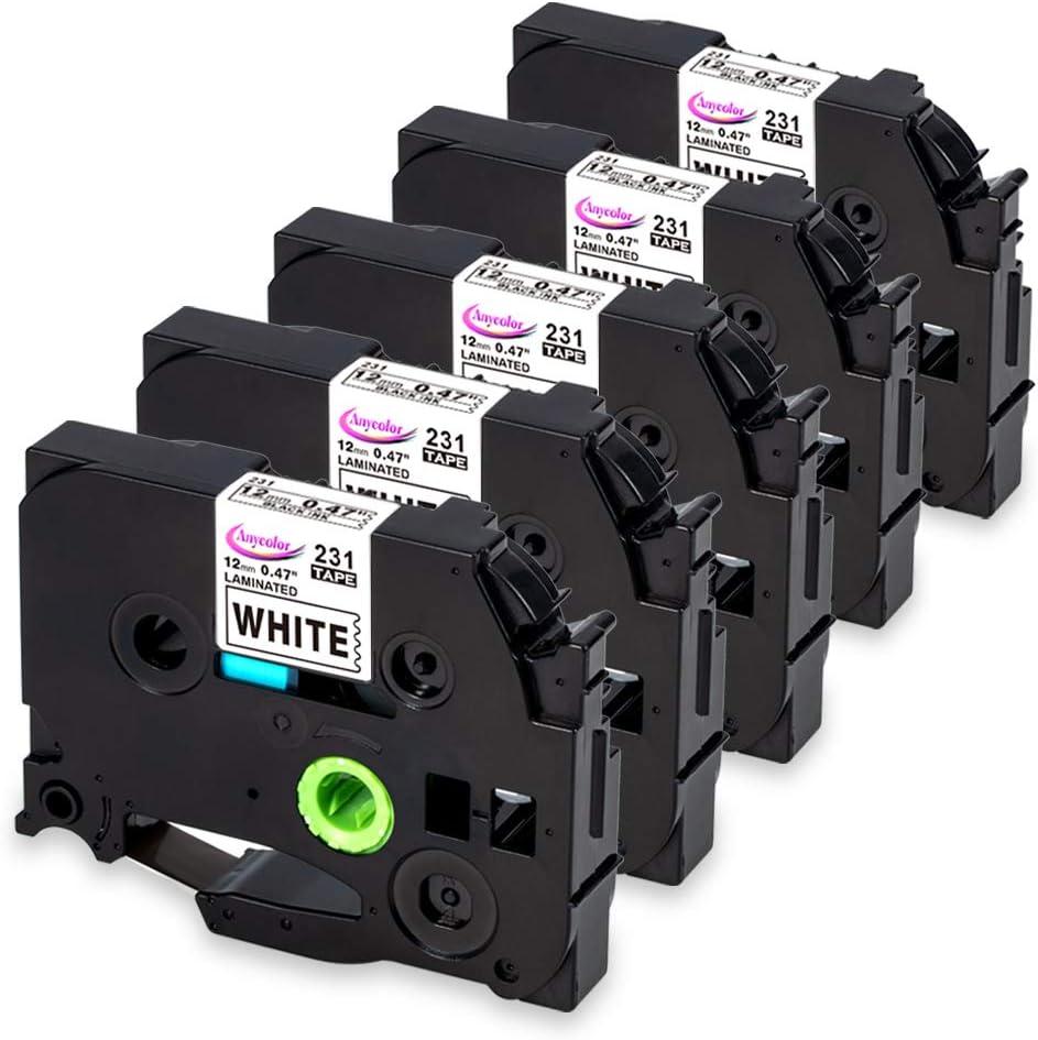 Anycolor Compatible Label Maker Tape 12mm 0.47 inch Laminated Tape TZe-231 TZ-231 TZe231 Black on White for P-Touch TZe Label Maker D210 H110 D600 D400 1880 1280 D200 H100, 5-Pack