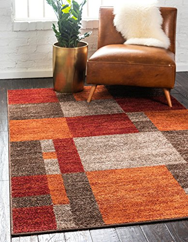 Unique Loom Autumn Collection Checkered Abstract Casual Warm Toned Multi Area Rug (5' x (Orange Carpet)