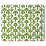 Irish Mouse Pad Entangled Clover Leaves Twigs Celtic Pattern Botanical Filigree Inspired Retro Tile Rectangle Non-Slip Rubber Mousepad, Green Cream