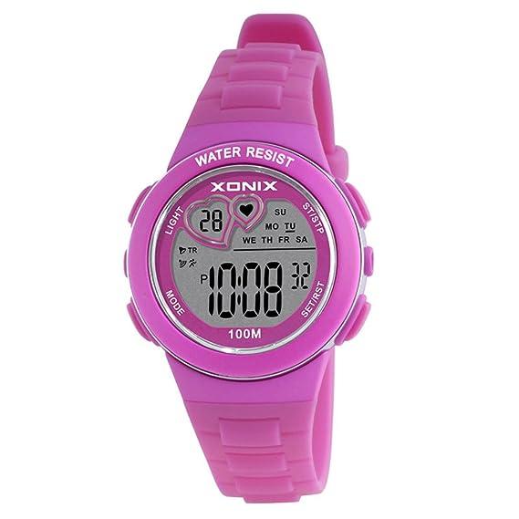 Niño] Cronómetro digital,Led 100m resistente al agua Sistema de 24 horas y 12 horas Luminoso Calendario Multifunción Estudiante Relojes digitales-C: ...
