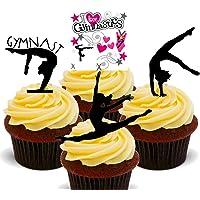 Gimnasta gimnasia/Siluetas – Decoración para tarta para comestible stand-up Cupcake de oblea