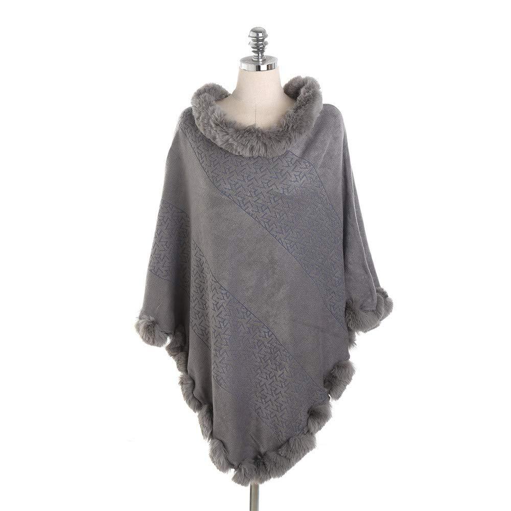 YHDD Borlas de Mujer Shawl Poncho Cabo Suave de acrílico Cardigans Suéter Escudo Bufandas estolas (Color : Gris)