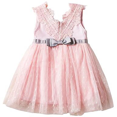 Mädchen Kleid Hochzeit KVbaby Binden Gürtel Weiß Bogen Rosa KVbaby 7vmIgyYb6f