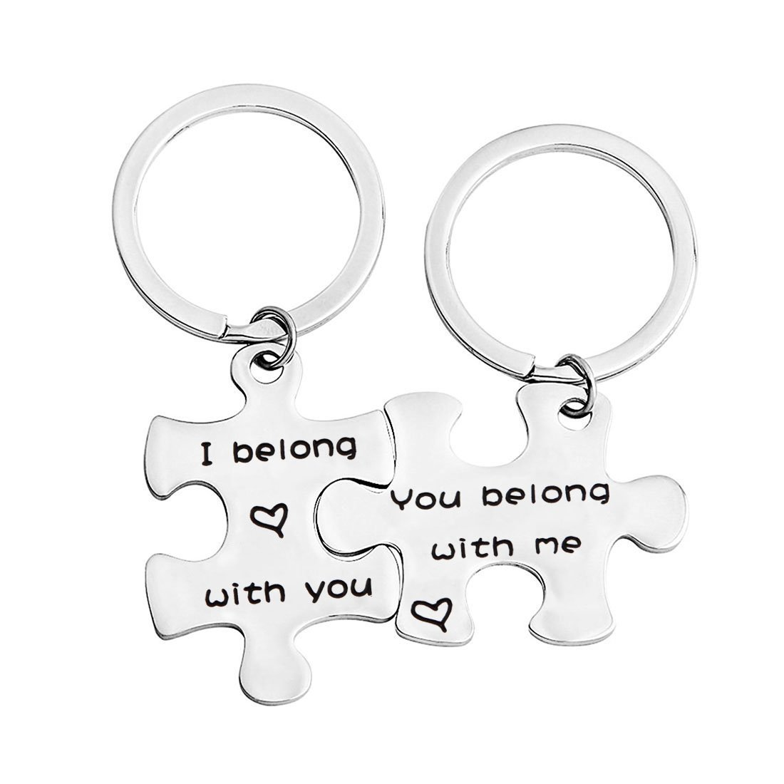 bobauna Couple Lover Family Puzzle Keychain Set of 2 I Belong with You You Belong with Me Valentine Gift
