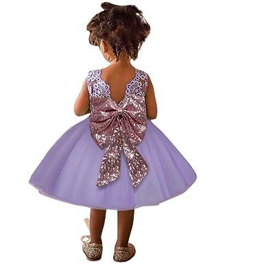 f89fa47913b Oyedens Robe de Filles Enfant Fille Robe Cérémonie Paillettes Bowknot  Ceinture Robe de Princesse Dentelle Robe