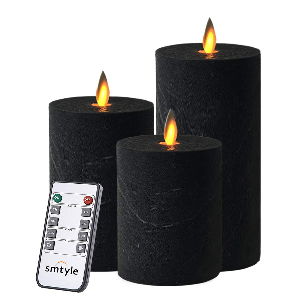 smtyle Black Flameless Candles Set of 3 Battery Operated with Moving Flame Wick Flickering LED Pillar Candle,3 x 4/5/6inch