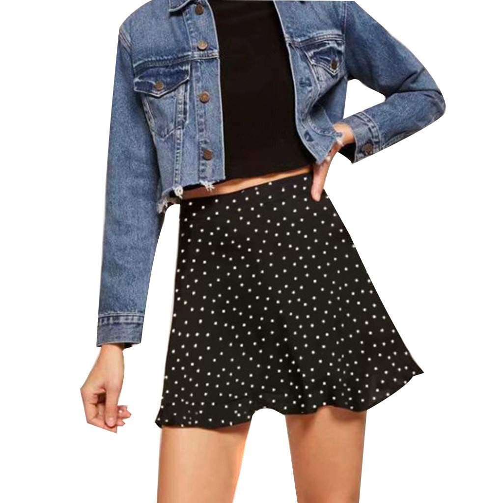 ZOMUSAR Now Women's Printed Bandage Mini Skirt Wrap Short Beach Party Summer Skirts for Ladies Black