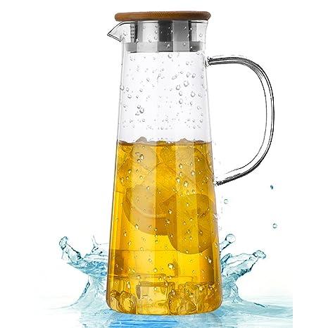 TAMUME 1.6 Liter Vaso Jarra de Agua Con Tapa de Bambú y Bocal Dual para Vaso