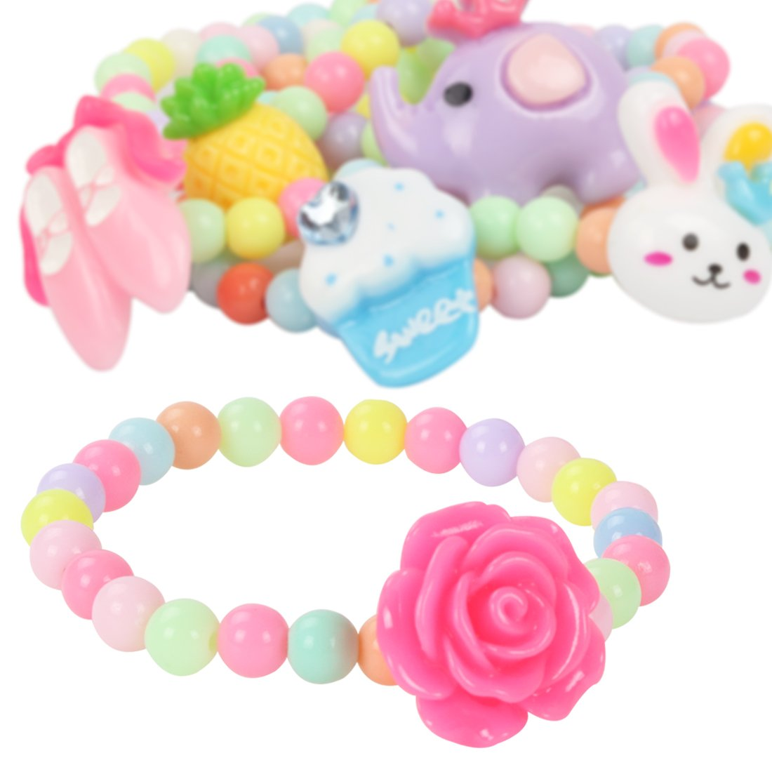 kilofly 6 Sets Princess Party Favors Girls Jewelry Rings Elastic Bracelets Pack by kilofly (Image #2)