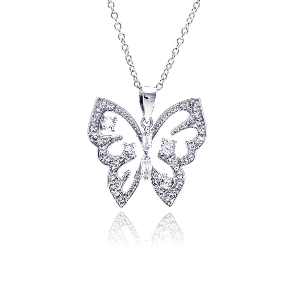 Princess Kylie Clear Cubic Zirconia Open Heart Design Pendant Sterling Silver