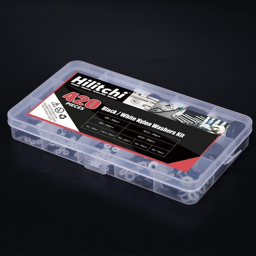 White//Black Nylon Insulating Flat Washers Gaskets Spacers Assortment Set Hilitchi 420-Pcs 9 - Size M2 M2.5 M3 M4 M5 M6 M8 M10 M12