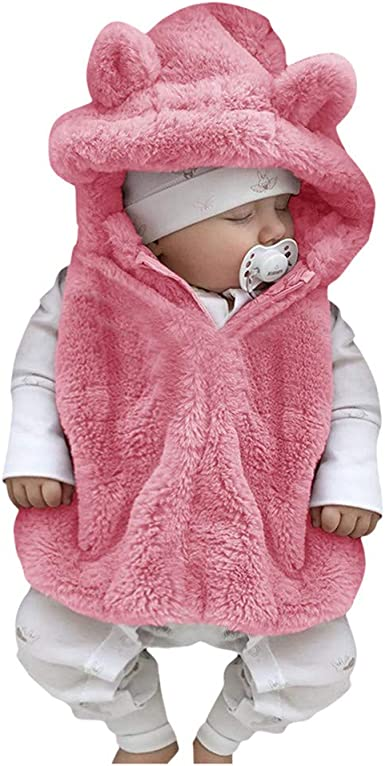 KONFA Toddler Baby Girls Winter Warm Clothes,Cartoon Rabbit Thick Cotton Jacket Hooded Coat,for 0-3 Years Kids