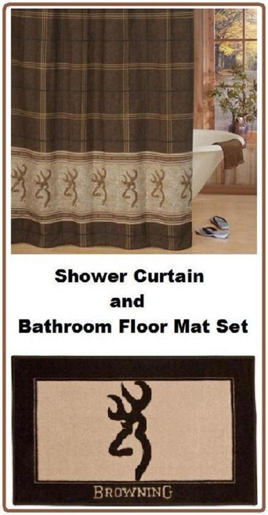 Browning Buckmark Tan & Brown Shower Curtain and Floor Mat Set
