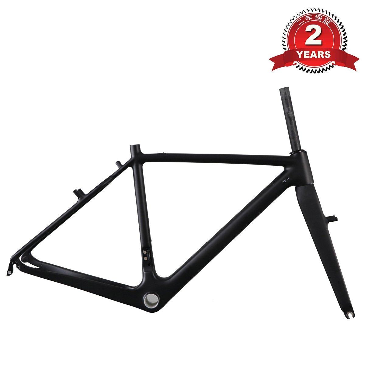 ICAN(アイカン) AC108 フルカーボン フレーム クロスバイク用 キャリパーブレーキ フレーム UDマット(黒) BB86 貫通軸 130×9mm サイズ: 48/50/52/54/56/58cm 選択可 B01IMW9OPE 52cm