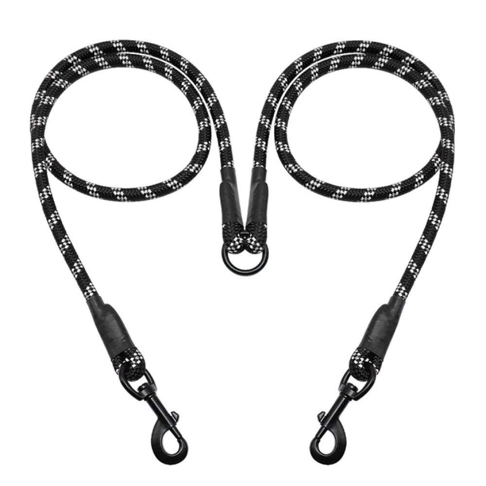 Dskjn Double Dog Leash No Tangle Reflective Dog Leash Leads Coupler Double Dogs Walker Trainer 2 Way Leash for Walking Two Dogs@Black