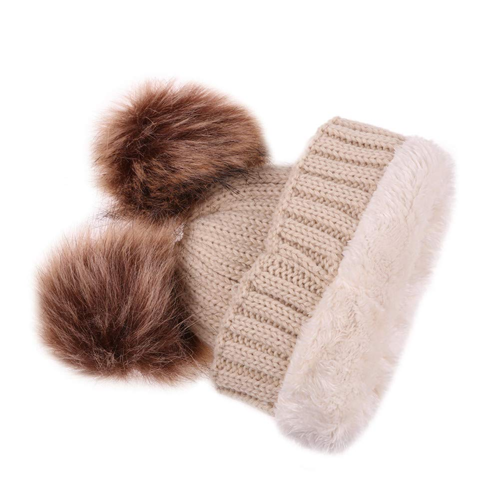 Flybloom Winter Kids Double Pompom Hats Thick Warm Knitted Hat Scarf Set For Children