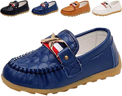 Boys Slip-On Leather Shoes in Cobalt Blue Sizes 7 Toddler - 6.5 Big Kid