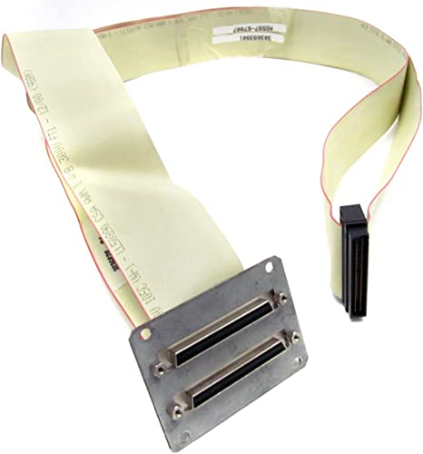 F HP A5597-67007 SCSI `Y` cable high density connector in the middle and a 68-pin M Has 68-pin 1.7m long high density connector at each end 5.6ft