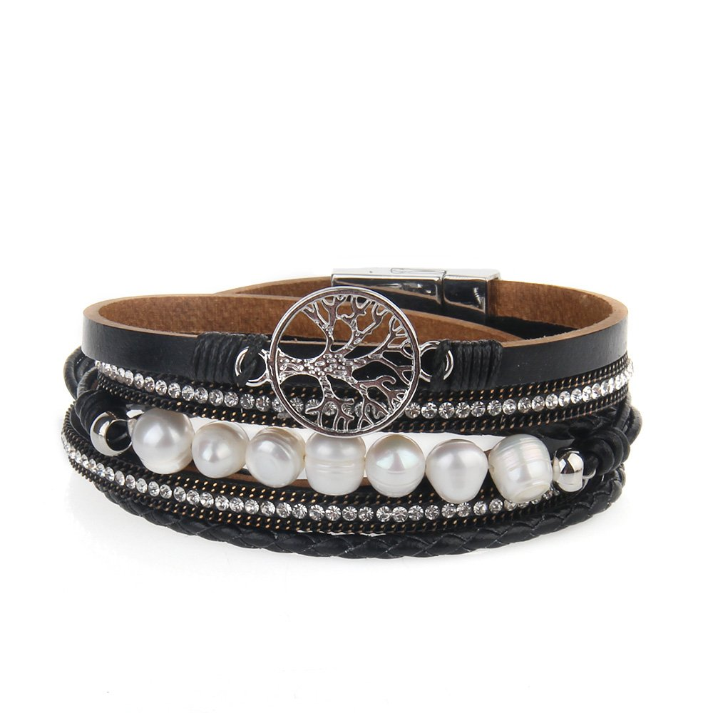 JOYMIAO Tree of Life and Pearl Leather Bracelet for Women Wrap Cuff Bracelets Handmade Bangle with Alloy Buckle