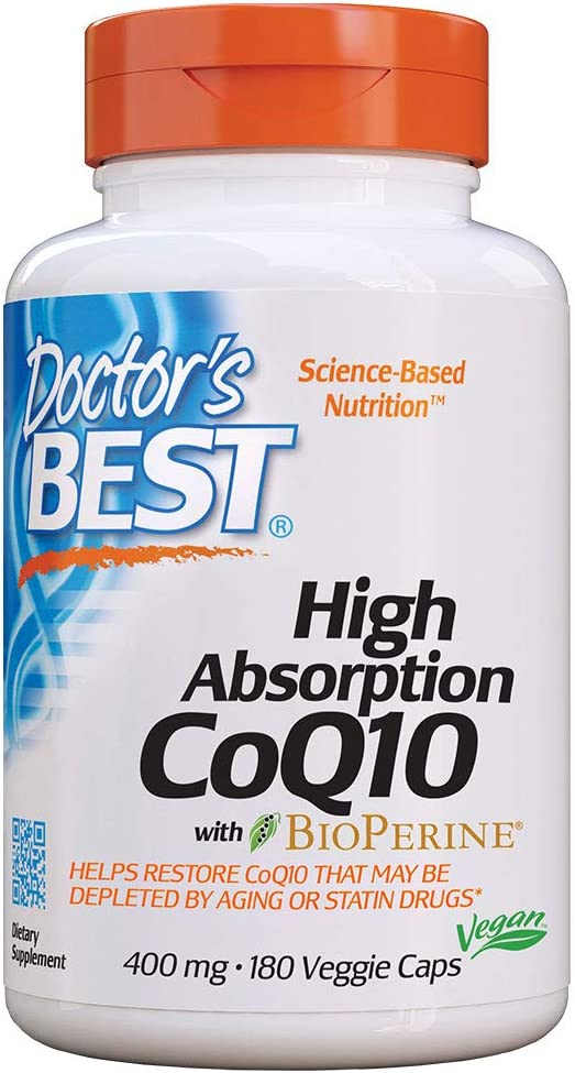 Doctor's Best High Absorption CoQ10 with BioPerine, Non-GMO, Gluten Free, Naturally Fermented, Vegan, Heart Health & Energy Production, 400 mg, 180 Veggie Caps