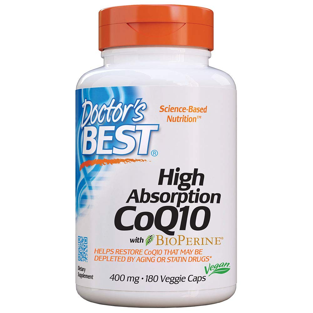 Doctor's Best High Absorption CoQ10 with BioPerine, Non-GMO, Gluten Free, Naturally Fermented, Vegan, Heart Health and Energy Production, 400 mg, 180 Veggie Caps