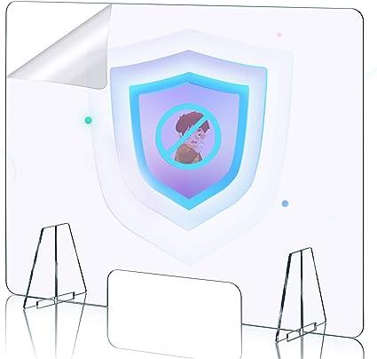Apotheken f/ür Gesch/äfte 60 x 60 cm DUTISON Spuckschutz Plexiglas B/üro Spuckschutz Thekenaufsatz mit Durchreiche