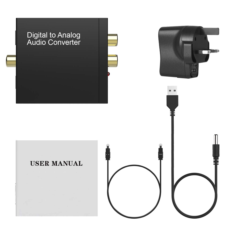 Digital Optical SPDIF to Analog RCA L//R Audio Adapter for PS4 Xbox HDTV BLU-Ray HD TV Rybozen DAC Converter