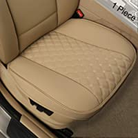 "Black Panther PU Car Seat Cover, Front Seat Protector Compatible with 90% Vehicles,Diamond Pattern Embroidery,Anti-Slip & Full Wrapping Edge (W 21.26''×D 20.86"")(1Piece,Beige)"