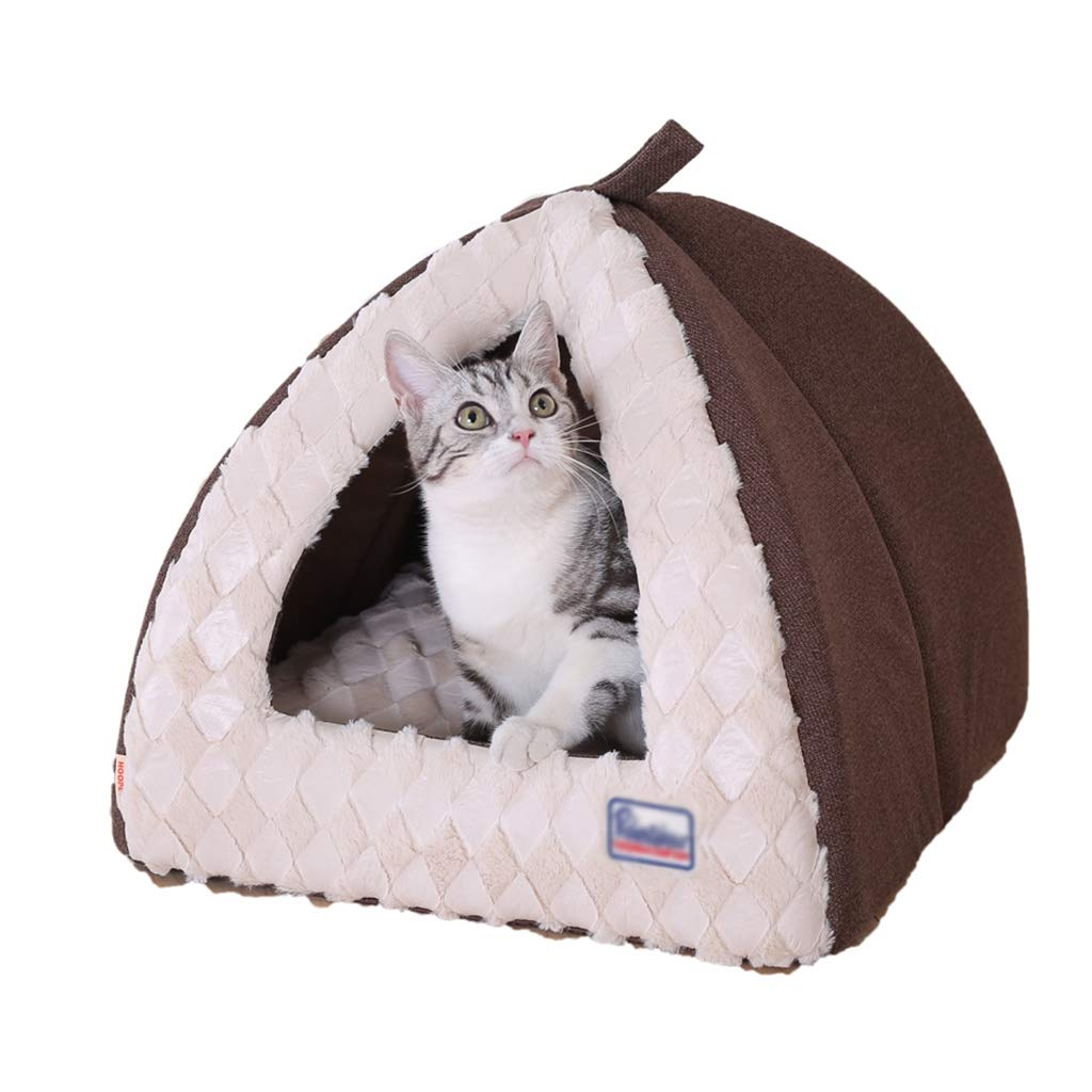 Brown Small Brown Small Shenzuyang Cat Bed Pet Bed Pet Supplies Series 100% Comfortable Soft Fabric (color   Brown, Size   S)