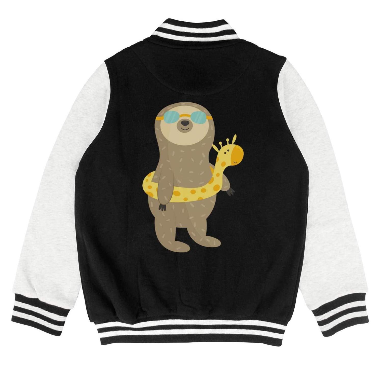 Autumn Kids Girls Winter Funny Sloth Going to Swim Custom Baseball Jacket Overcoat