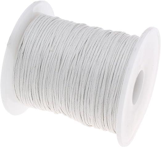 Perlin – 75 M encerados algodón Encerado cordón Blanco 1 mm Joyas Cordones Cera Hilos Ideal para bisutería, c163: Amazon.es: Juguetes y juegos