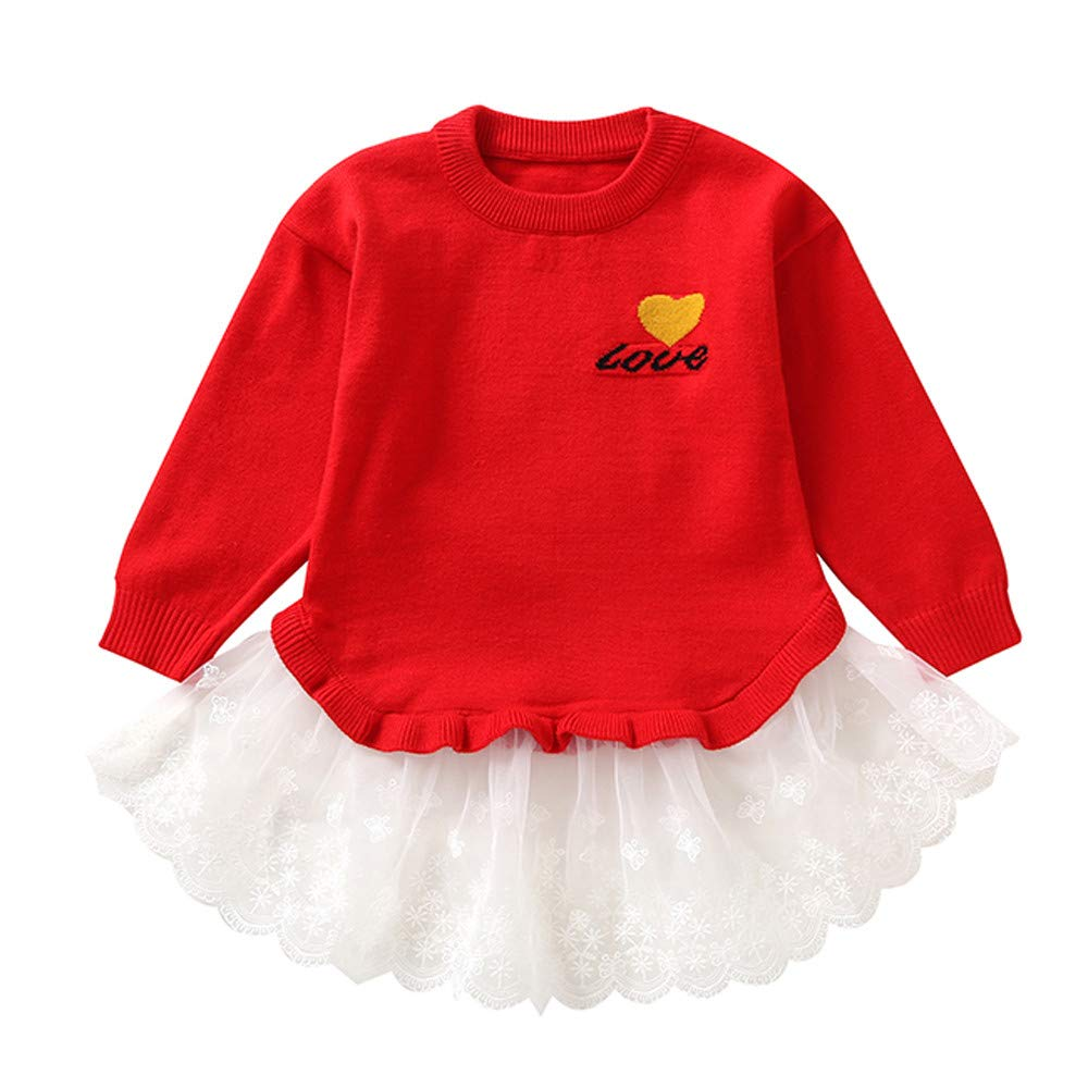 Fartido Toddler Baby Girls Love Print Lace Pachwork Long Sleeves Sweater Tops (Red, 18 Months)