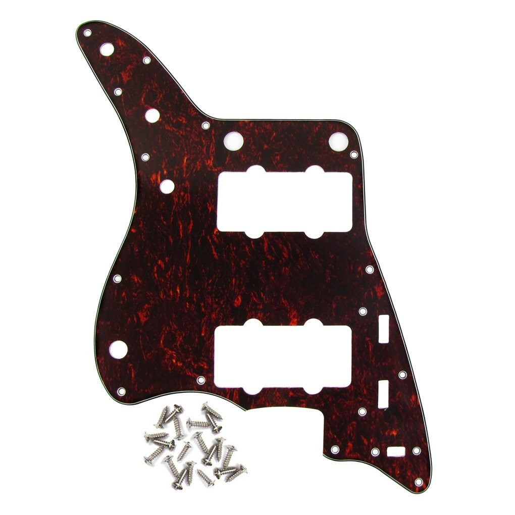 IKN Black Pearl 3Ply Guitar Pickguard Scratch Plate for American Fender Style Vintage JM Guitar, with Screws iknmusic