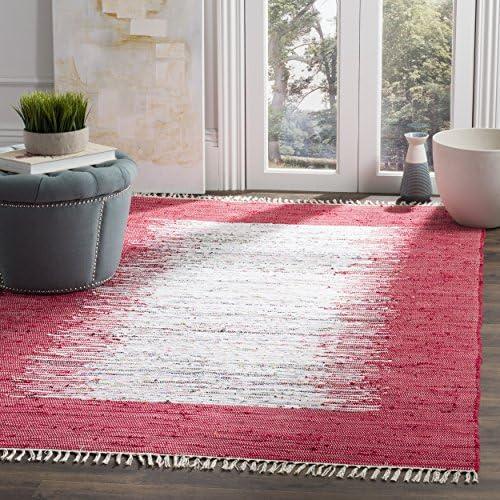 Safavieh Montauk Collection Mtk711b Handmade Stripe Fringe Cotton Area Rug 8 X 10 Ivory Red Furniture Decor