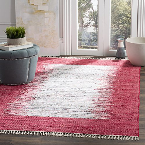 Safavieh Montauk Collection MTK711B Handmade Flatweave Ivory and Red Cotton Square Area Rug (4' Square)