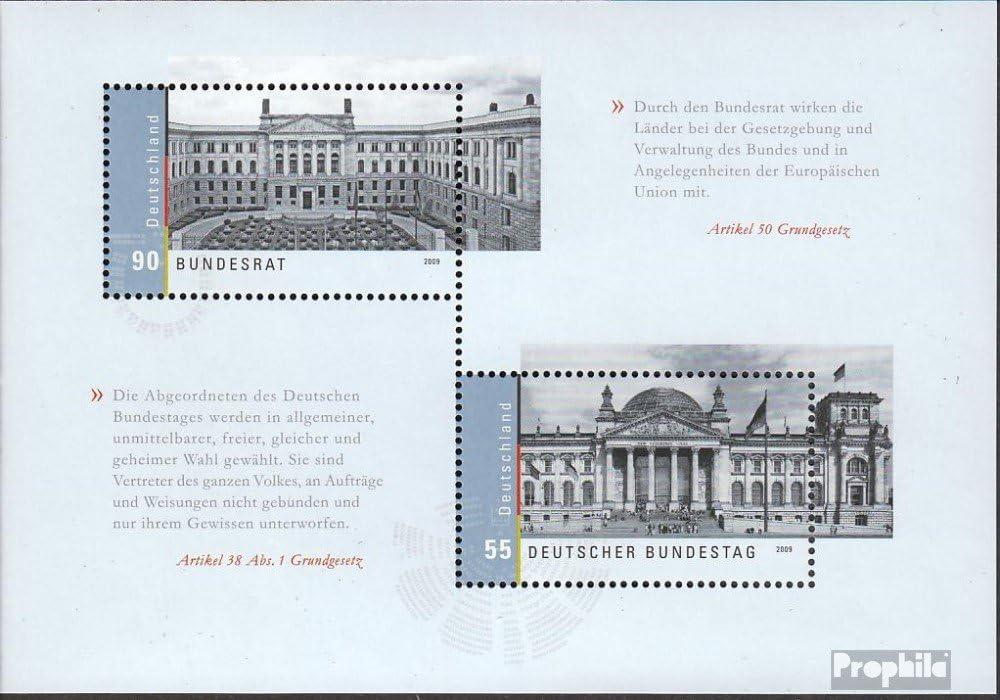 kompl.Ausg. Block76 BR.Deutschland Bundesrat Prophila Collection BRD Briefmarken f/ür Sammler Ersttagssonderstempel 2009 Dt Bundestag