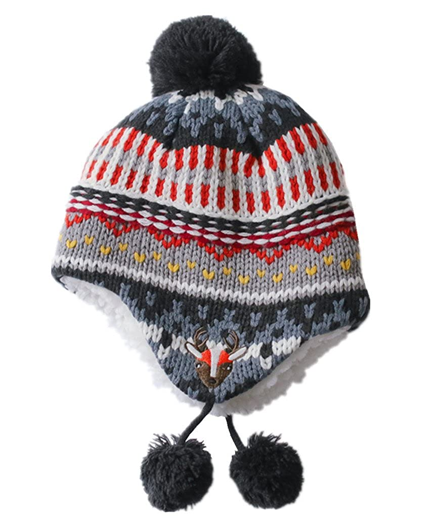 Home Prefer Infant Toddler Boys Girls Winter Hat Sherpa Earflaps Hat Knitted Cap