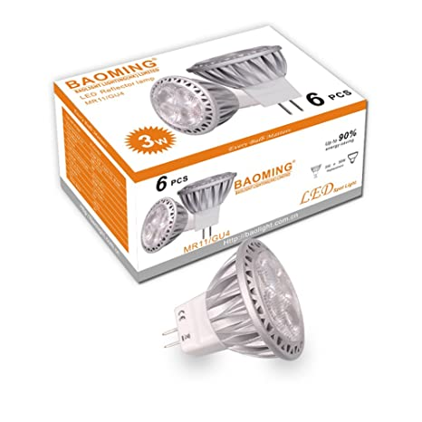 BAOMING MR11 GU4.0 LED bombillas 35W Bombilla halógena equivalente a 12V DC /AC