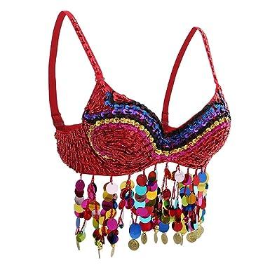 perfeclan Sujetador de Danza de Vientre con Lentejelas Borlas de Monedas Traje de Cantante Vestido de Baile Latino Accesorios de Disfraces - rojo, ...