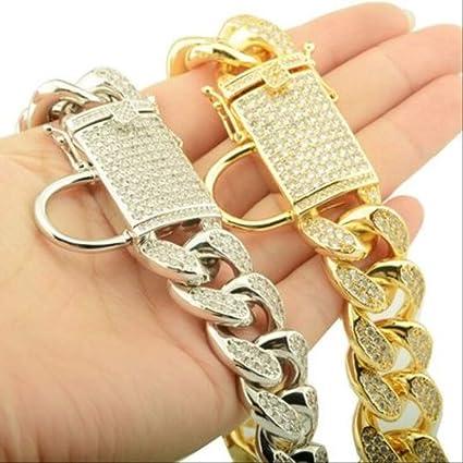 Collana in Oro con Collare A Catena per Gatto per Cani Pet Bulldog Big Bulldog 45cm