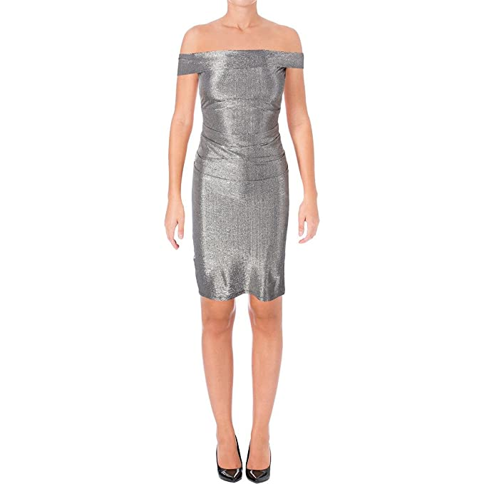 ec8a3b9094 Image Unavailable. Image not available for. Color: Laundry by Shelli Segal  Womens Metallic Sleeveless Cocktail Dress ...