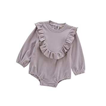 9a9446cc7a31 Fairy Baby Toddler Baby Girls Ruffle Outfits Long Sleeve Cotton Solid Romper  Dress Size 18-