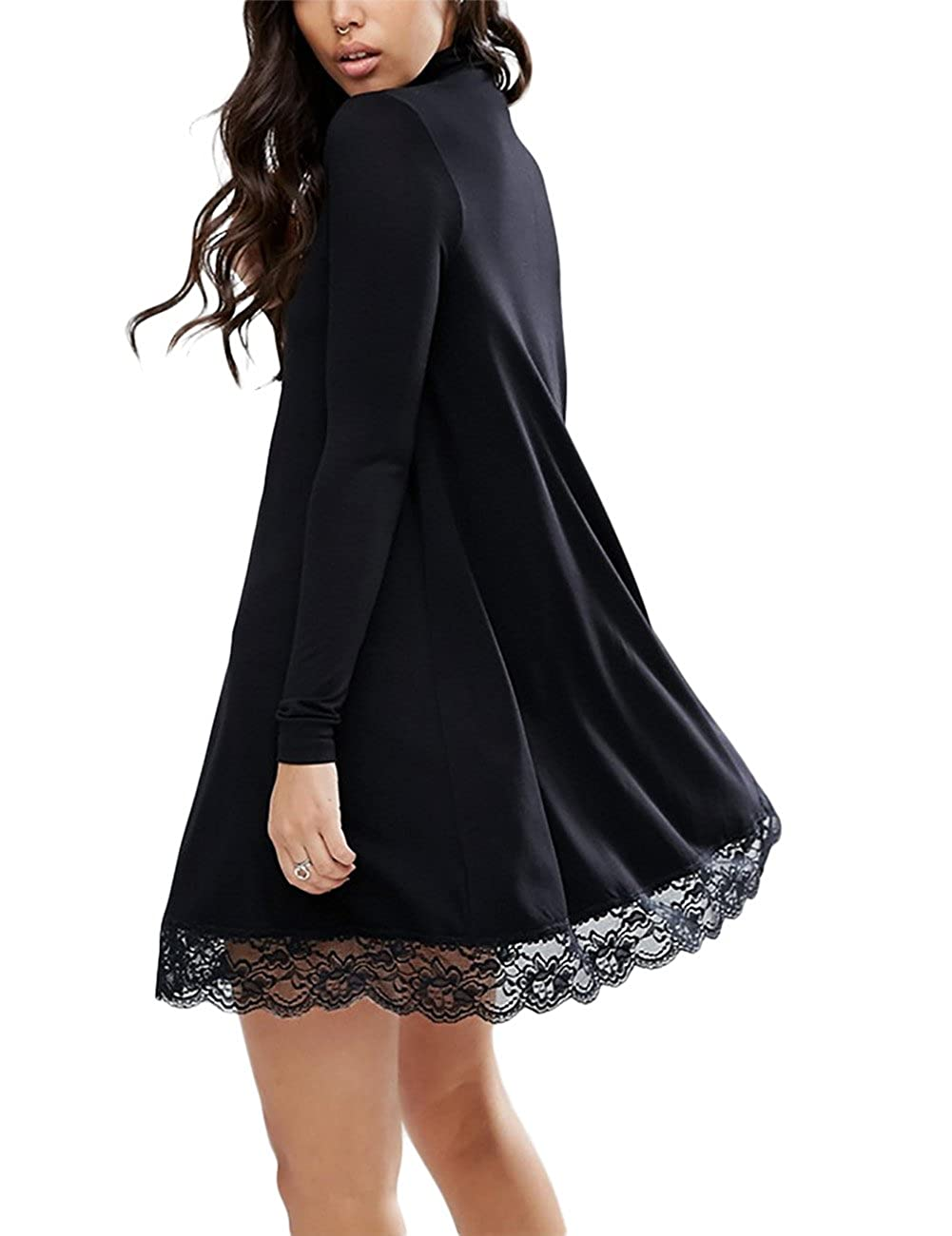 Yiwa Women Turtleneck Long Sleeve Lace Floral Hem Loose Casual Dress at Amazon Womens Clothing store: